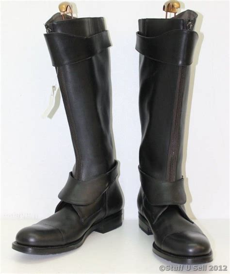 mens black leather riding boots new salvatore ferragamo mens black knee high thick riding