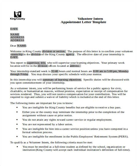 appointment letter for volunteer 24 sle appointment letters in doc