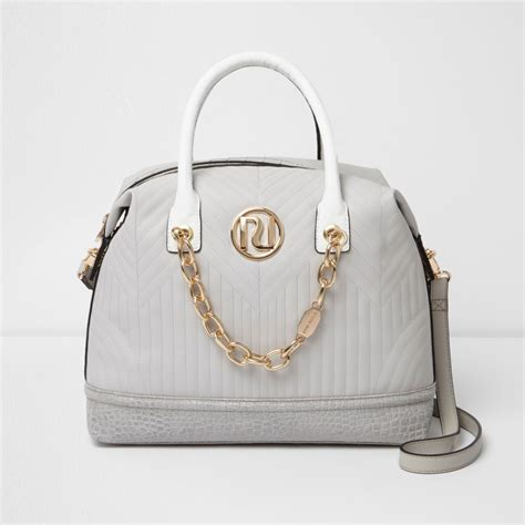 grey quilted chain front bowler bag shopper tote bags