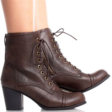 womens high heel combat boots shoe addiction brown faux leather lace up combat