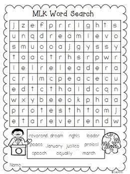 martin luther king word search worksheet martin luther king word search freebie by creative