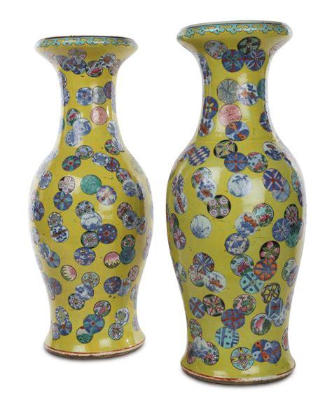 vasi cinesi grandi coppia di vasi in porcellana famiglia rosa a fondo giallo