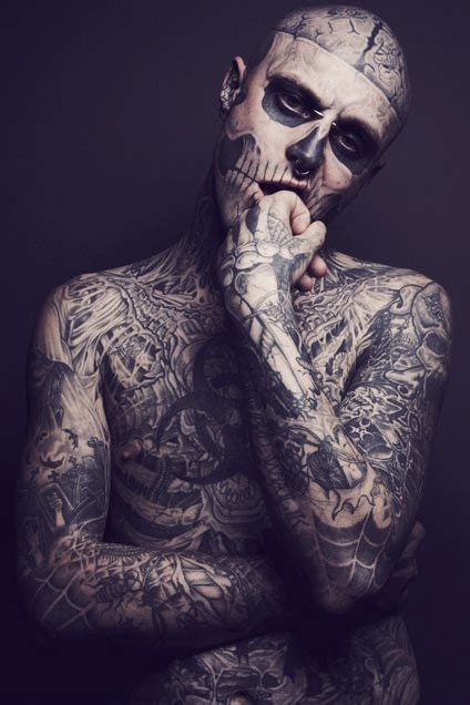 full body tattoo black and white trust in fashion zombie boy