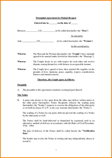 prenuptial agreement template free 10 free printable prenuptial agreement form ledger paper