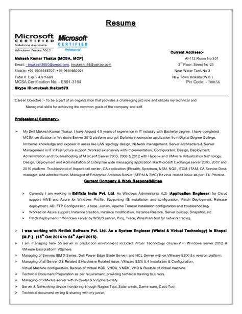 Hyper V Resumes by Mukesh Thakur Wintel And Vmware Admin