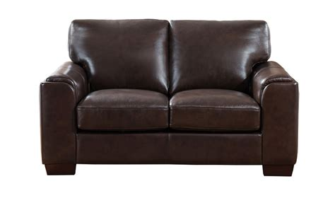 Suzanne Full Top Grain Dark Brown Leather Loveseat