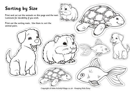 printable animal pictures for sorting pets sorting big and small