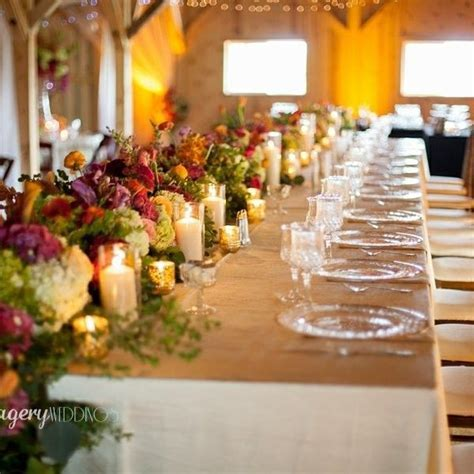 Country glam wedding reception Head table garland/runner