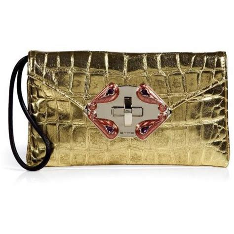 Clutch Croco Gold etro gold croco embossed clutch