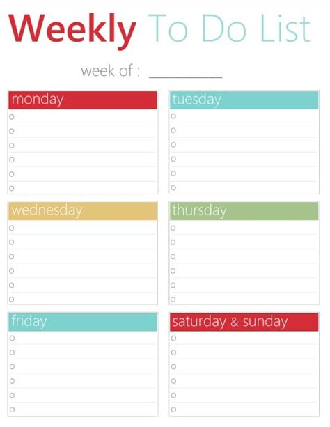 free weekly to do list template free printable weekly to do list