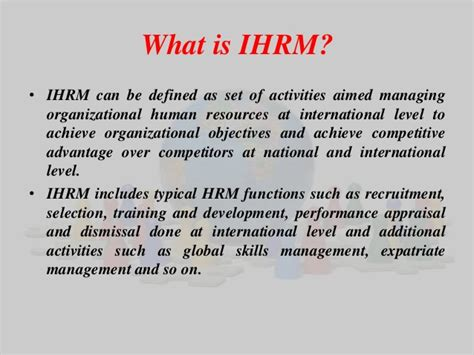 International Human Resource Management Notes Mba by International Hrm