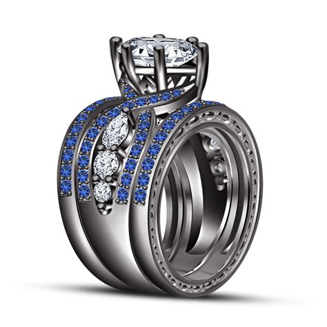 sapphire black gold trio set wedding engagement rings