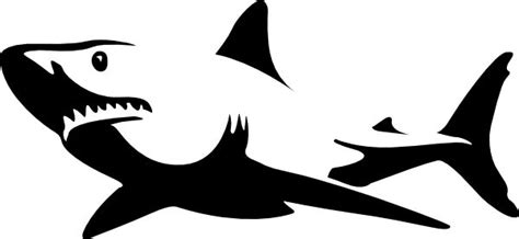 great white shark clipart black and white clipart best