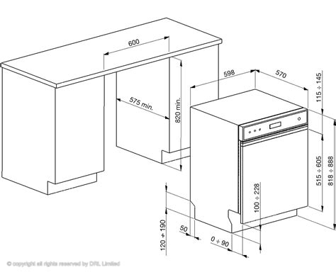 standard kitchen appliance dimensions dimensions for fitting semi integrated dish washed smeg