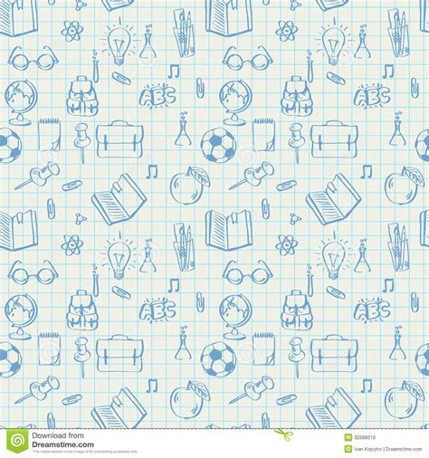 doodle your math book seamless school pattern doodles on math paper stock vector