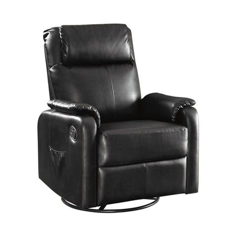 black faux leather recliner coaster faux leather swivel glider recliner with side