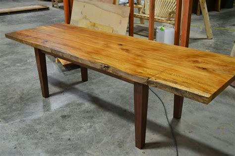 made live edge slab dining table with extensions by