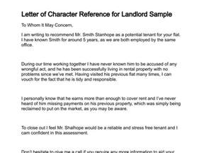 Reference Letter For A Friend To Landlord Letter Of Character Reference