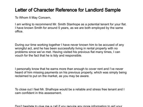 Character Reference Letter Written To A Potential Landlord Letter Of Character Reference
