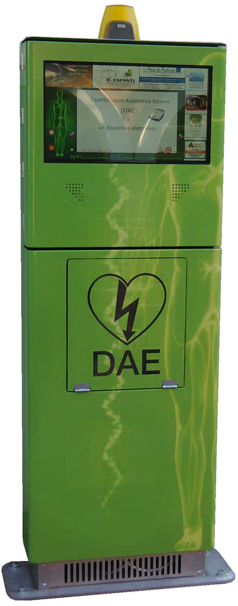 defibrillatore interno totem dae installazione da pavimento out door con
