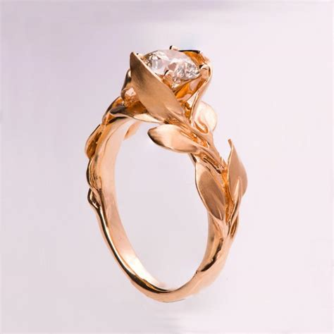 leaves engagement ring no 7 14k gold and