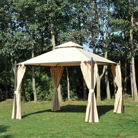 outdoor canopy curtains outsunny 10 x 10 steel outdoor garden gazebo with
