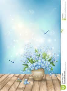 Floor Vase Spring Blue Flowers Dragonflies On Wood Background Stock