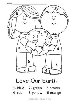 simple earth coloring page free earth day color by number 3 free printables fun
