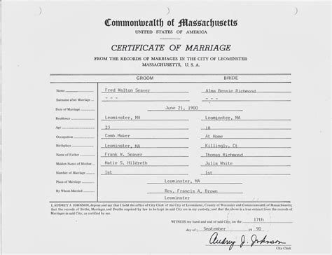 Marriage Records Ma Genea Musings Treasure Chest Thursday Post 198 1900 Marriage Certificate For Fred