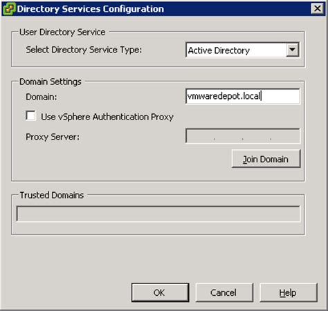 join esxi host  active directory domain vmware depot