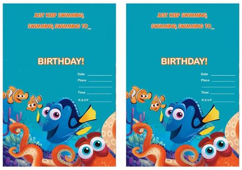 printable nemo birthday invitations 17 best images about birthday party invitations free