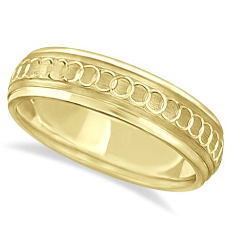 infinity mens wedding band infinity wedding band for fancy carved 14k yellow gold 5mm