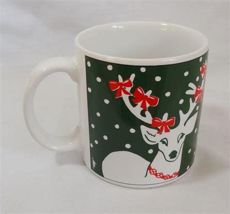 christmas reindeer with bows 10 oz coffee mug cup mugs cups