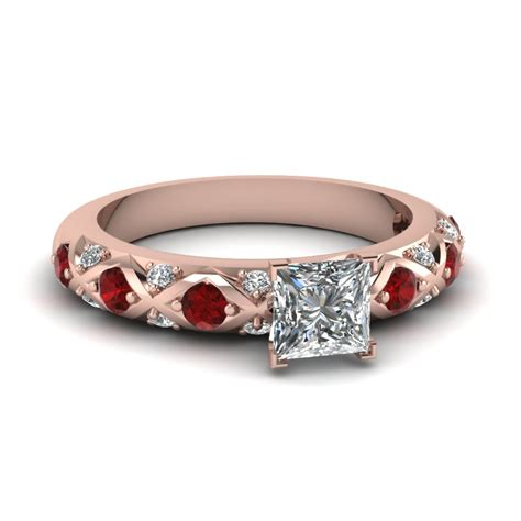 princess cut ruby side engagement rings