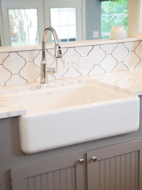 farmhouse sink with backsplash photos hgtv