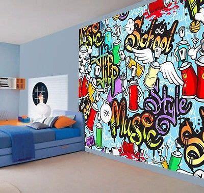 cool bedroom wall murals cool kids graffiti music style hip hop school wallpaper