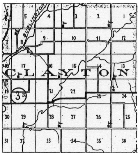 how many sections are in a township clayton township taylor county iowa