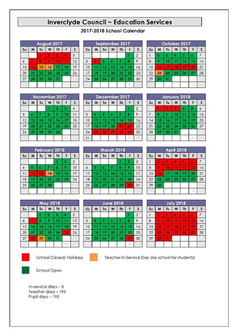 Calendar 2018 With School Holidays Uk Inverclyde Council School Holidays