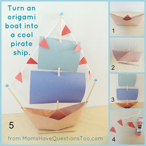Paper Folding Ship - origami boat and pirate ship craft