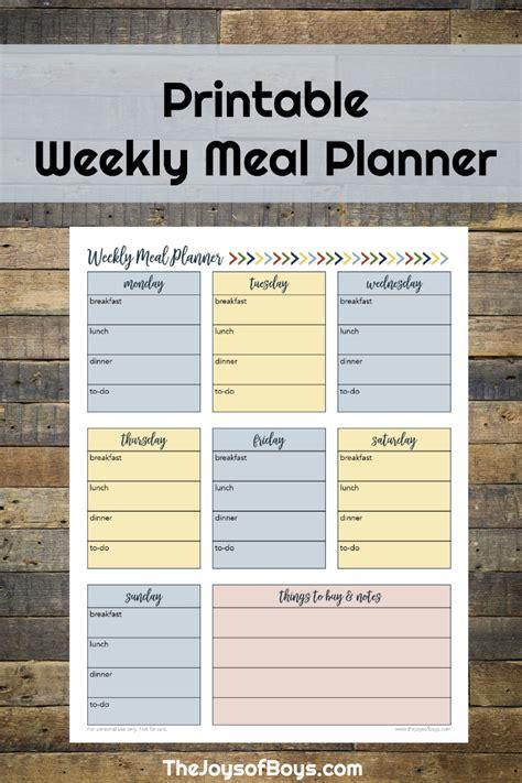 printable one week meal planner free weekly meal planner printable for busy families