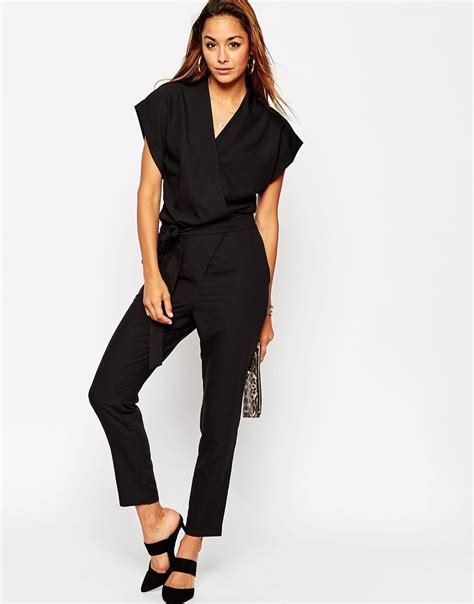 Jumpsuit Wear asos tailored wrap jumpsuit with tie waist in black lyst