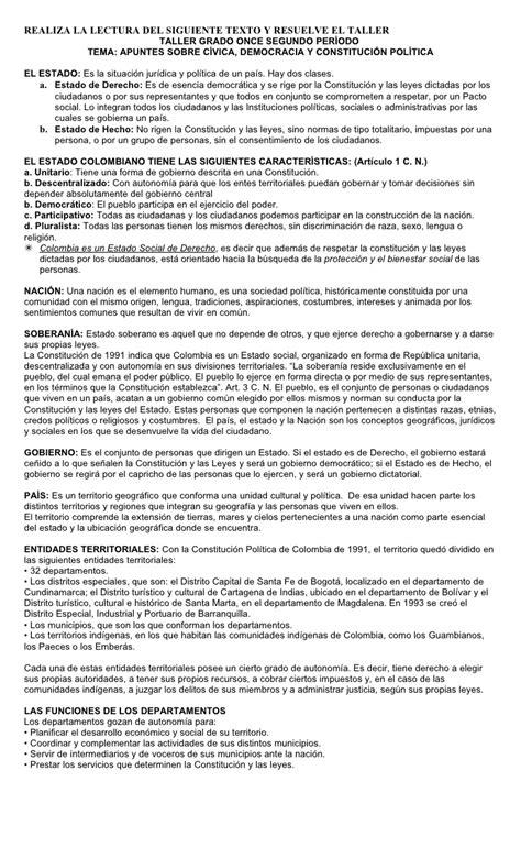 preguntas basicas de geografia colombiana taller grado once segundo per 237 odo c 237 vica democracia y