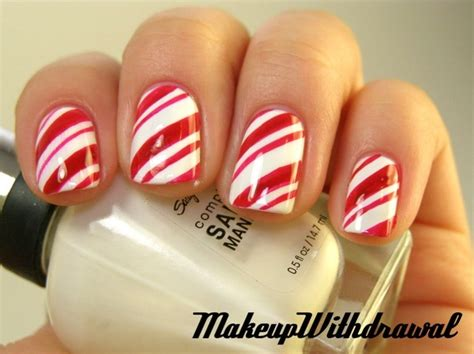 Candy cane nails hair beauty pinterest