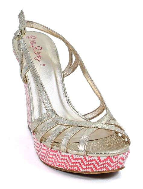 lilly pulitzer shoes lilly pulitzer gold metallic strappy wedge sandals