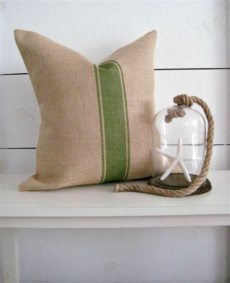 Sack Pillow by Burlap Pillow Grain Sack Pillow Cover Cottage Pillow