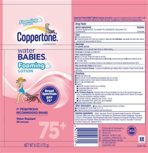 coppertone water babies foaming sunscreen spf 75 plus