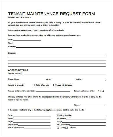 Maintenance Request Form Sles 8 Free Documents In Word Pdf Tenant Maintenance Request Form Template