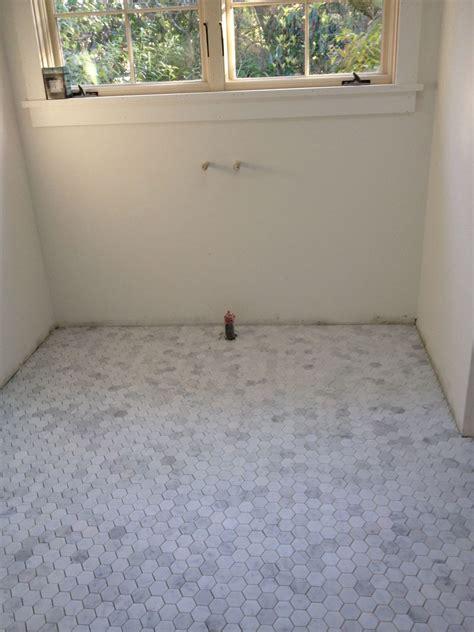 marble hex tile bathroom floor hexagon marble moasic floors for small bathroom
