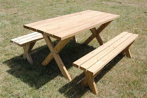 build a picnic table with detached benches 21 wooden picnic tables plans and instructions guide