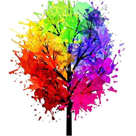 Paper Duvet Quot Rainbow Tree With Colour Splats Quot Art Prints By Arniesart